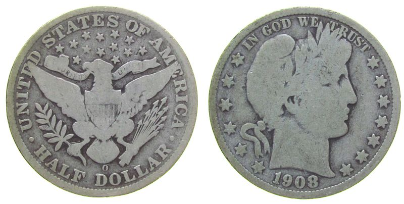 1/2 Dollar 1908 USA Ag Barber, O (New Orleans) schön