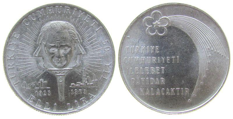 50 Lira 1973 Türkei Ag 50.Jahrestag Republik vz-unc