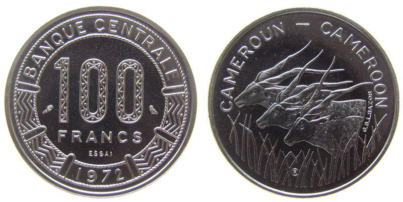 100 Francs 1972 Kamerun Ni Essai stgl