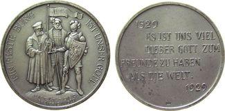 Medaille 1929 Reformation / Religion Silber Speyer - 400 Jahrfeier des Protestation von 1529, Gelehrter, Fürst und Tu vz