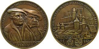 Medaille 1930 Goetz Bronze Luther und Johann der Beständige, zum Gedenken an den Aufenthalt auf der  vz+