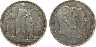 5 Francs 1880 Belgien Ag Leopold II, 50 Jahre Staatsgründung ss+
