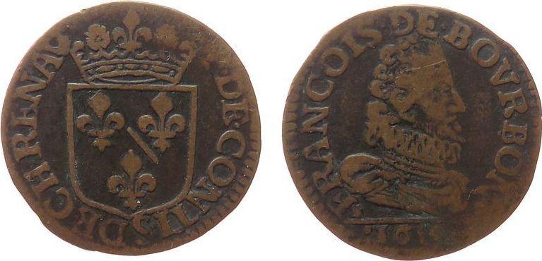 Double Liard 1614 Frankreich Ku Francis of Bourbon (1603-1614), Chateau Renaud fast ss