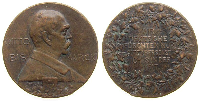 Medaille o.J. Bismarck Bronze Bismarck (1815-1898) - auf die Reichsttagsrede von 6. Feb. 1888, Brustbild nach rechts / Wir Deutschen fürchten nur Gott ss