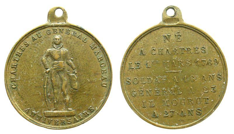 tragbare Medaille o.J. Frankreich Messing Marcheau Franois-Sverin (1769-1796) französischer General, Statue mit Säbel / Lebensdaten, ca. 22,6 MM vz