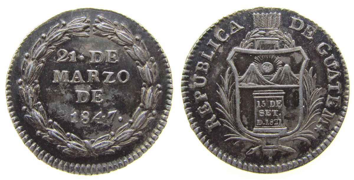 Medaille 1847 Guatemala Silber auf die Gründung der Republik, Wappen / Schrift, ca. 20 MM, selten vz