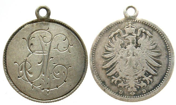 gravierter Anhänger o.J. Gelegenheitsmedaillen Silber Initialen E und N, auf 20 Pfennig Kaiserrreich D ss