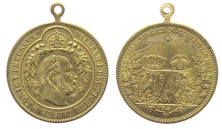 tragbare Medaille 1887 vor 1914 Bronze vergoldet Wilhelm I. (1861-1888) - zur Erinnerung an seinen 90. Geburtstag, Büste nach rechts / zwei gekrönte Wappen, ca. vz