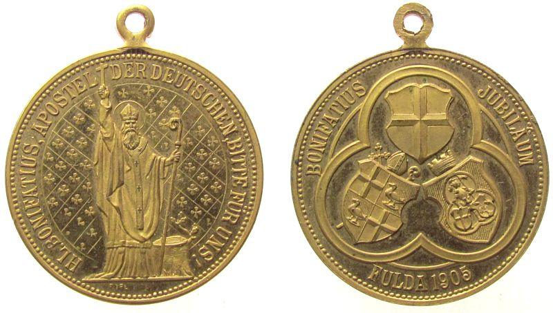 tragbare Medaille 1905 Städte Bronze vergoldet Fulda - auf den 1100. Todestag des Hl. Bonifatius, Bonifatius mit Krummstab und Kreuz / Wappen im Dreipass, v. vz