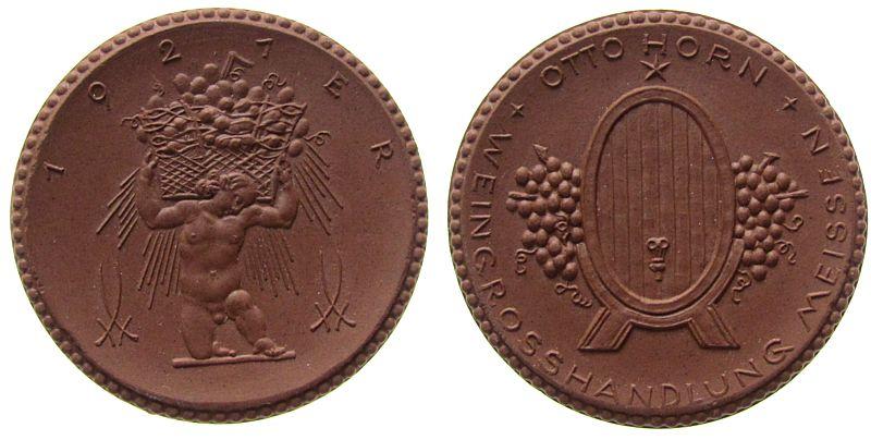 Medaille 1921 Porzellan Böttger Steinzeug Horn Otto - Weingrosshandlung Meissen, ca. 41 MM prägefrisch