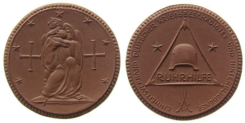 Medaille o.J. Porzellan Böttger Steinzeug Ruhrhilfe, ca. 41,5 MM prägefrisch