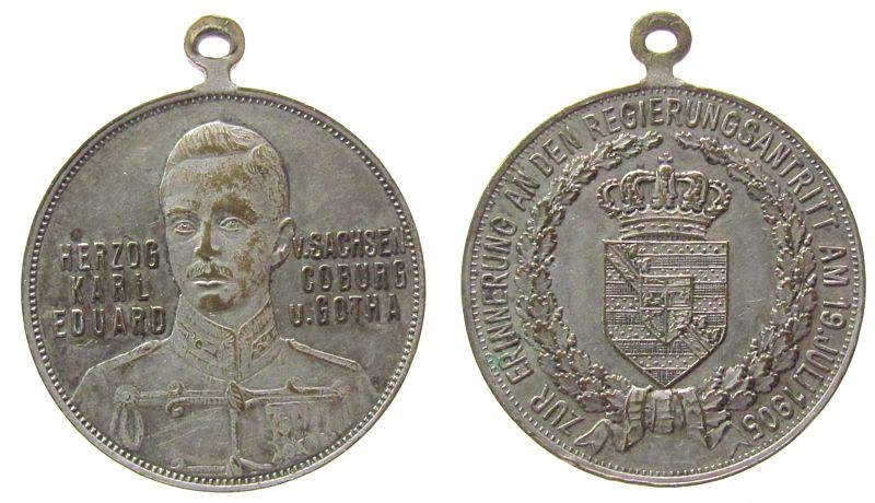 tragbare Medaille 1905 vor 1914 Bronze versilbert Carl Eduard Herzog von Sachsen-Coburg und Gotha - auf seinen Regierungsantritt, Brustbild nach rechts mit Schr ss