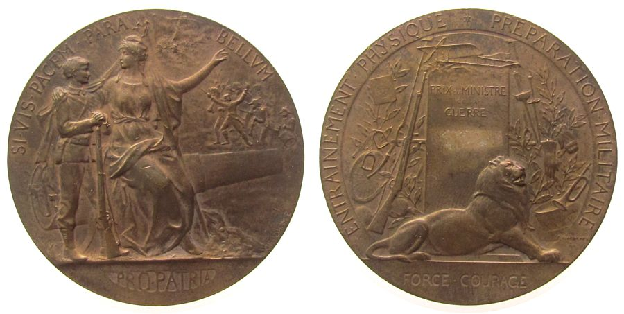 Prämienmedaille o.J. Frankreich Bronze Verteidigungsministerium - für Tapferkeit, Force Courage, stehender Soldat mit Gewehr neben, auf einer Kanone sitzende Fr vz