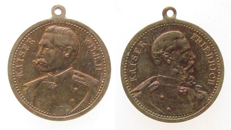 tragbare Medaille o.J. vor 1914 Bronze Friedrich und Wilhelm II, ca. 24 MM ss+