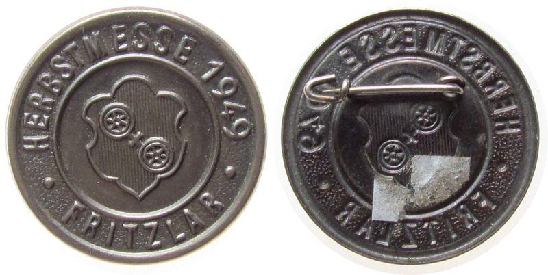 Abzeichen 1949 Städte Aluminium Fritzlar - Herbstmesse, ca. 27,2 MM, intakte Nadel vz