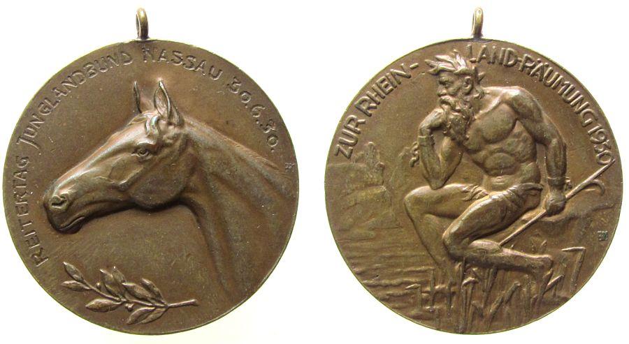 tragbare Medaille 1930 Tiere Bronze Reitertag Junglandbund Nassau, Pferdekopf nach links / Flussgott mit Schrift: zur Rheinlandräumung, Signatur: BM, ca. 40, vz