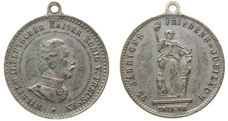 tragbare Medaille 1896 vor 1914 Bronze versilbert Wilhelm II - 25jähriges Friedensjubiläum, Büste nach rechts / Niederwalddenkmal, ca. 23,8 MM ss