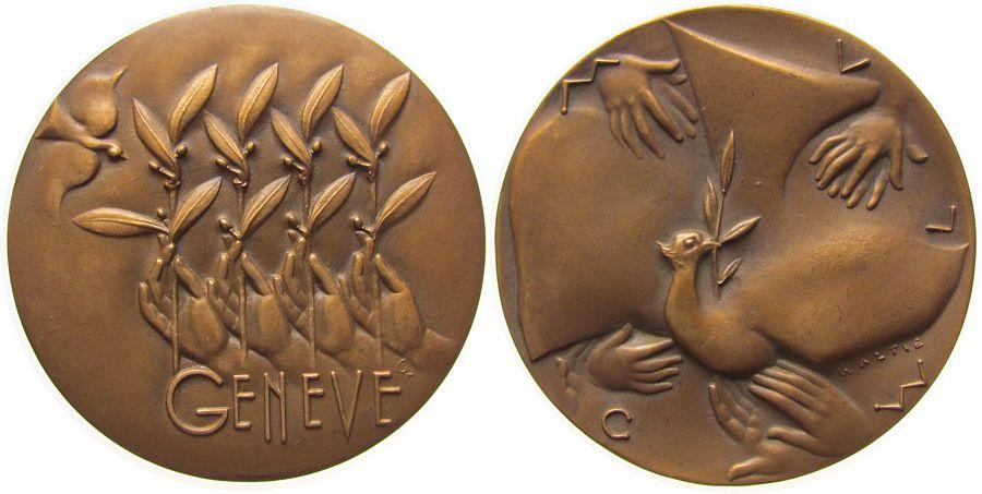 Medaille 1955 Schweiz Bronze Genf - auf die Konferenz der Siegermächte zur Wiedervereinigung Deutschlands in Genf, vier Hände mit Zweigen / Taube mit gußfrisch