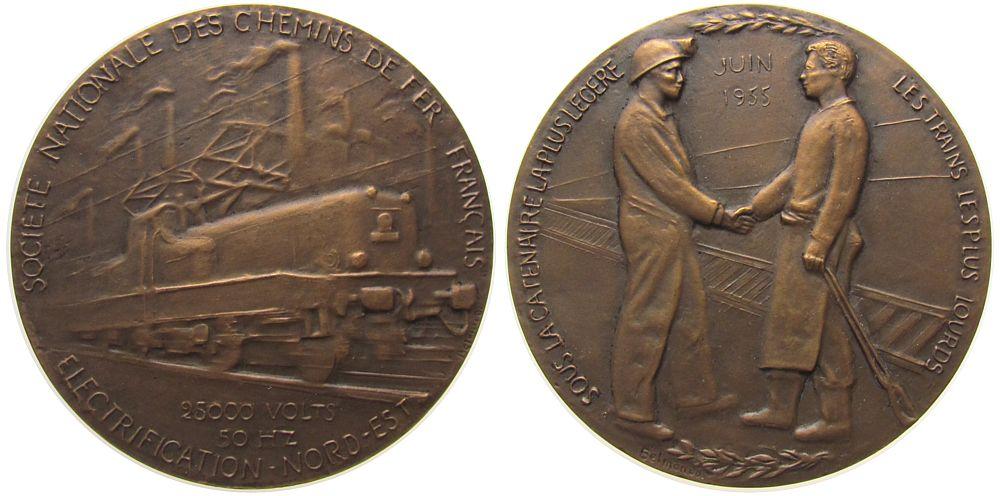 Medaille 1955 Frankreich Bronze Eisenbahn - auf die Elektrifizierung der Streck Valcenciennes - Thionville, E-Lok / zwei Arbeiter geben sich die Hand, v. gußfrisch