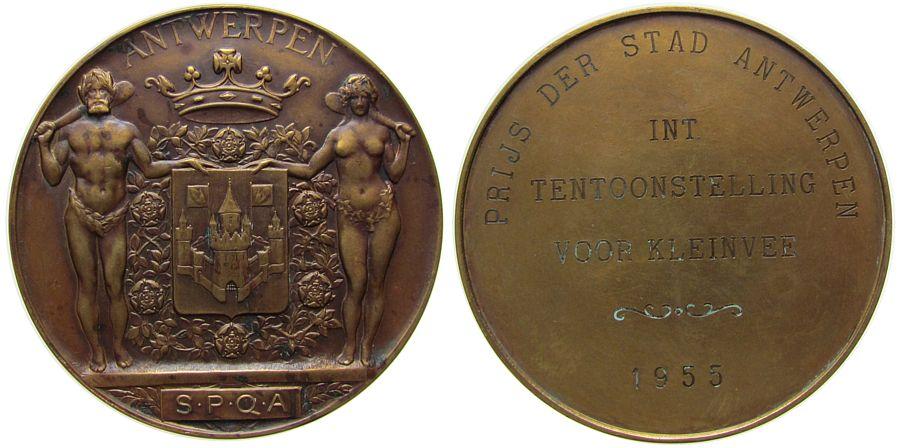 Medaille 1955 Belgien Bronzeguß Antwerpen - Ausstellung für Kleinvieh, gekröntes Wappen gehalten von eine halbnackten Frau mit Keule und einem Mann mi vz