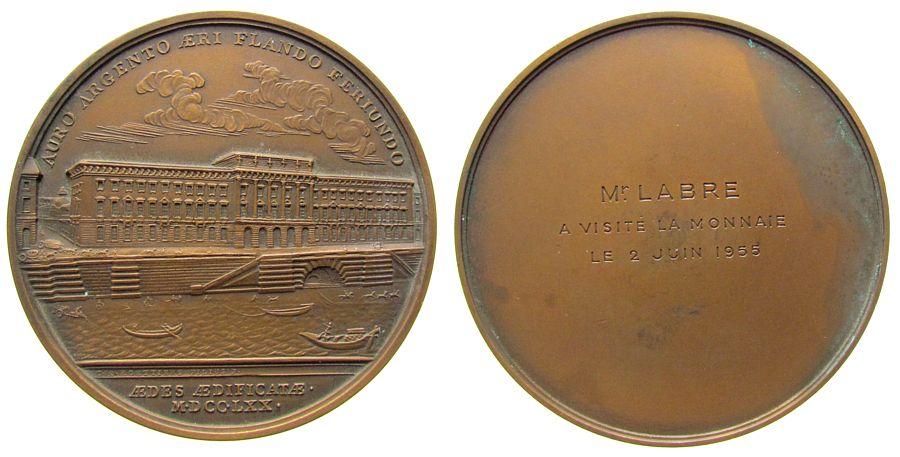 Medaille 1955 Frankreich Bronze Paris - auf den Besuch der Münze in Paris, ältere Ansicht der Münzen (nach der RS der Medaille v. Roettier von 1770 - Wur vz