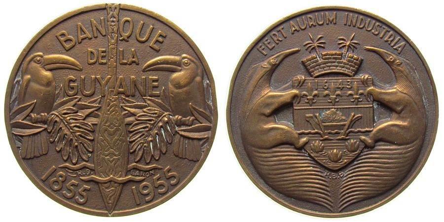 Medaille 1955 Guyana Bronze Bank von Guyana - auf das 100. Gründungsjahr, zwei Tukans links und rechts neben einem Paddel (?) / zwei Ameisenbären mit vz