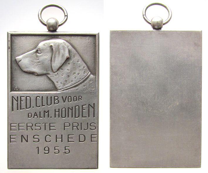 tragbare Plakette 1955 Niederlande Bronze versilbert Eschede - Dalmatiner Hundeclub, Hundekopf - erster Preis / leer, ca. 40 x 60 MM vz