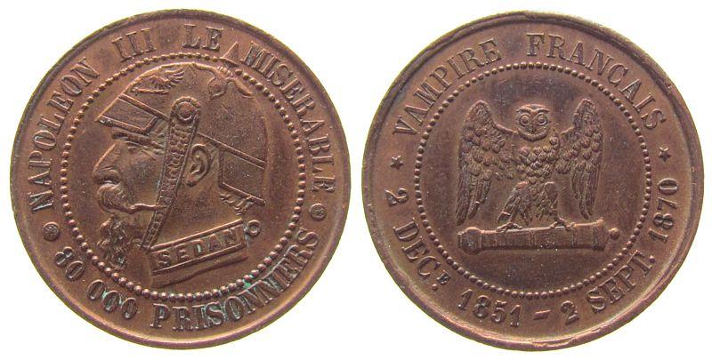Spottmedaille 1870 Frankreich Bronze Napoleon III- satyrische Medaille, Napoleon mit Pickelhaube und Halseisen (Sedan) / Eule, 27,2 MM vz