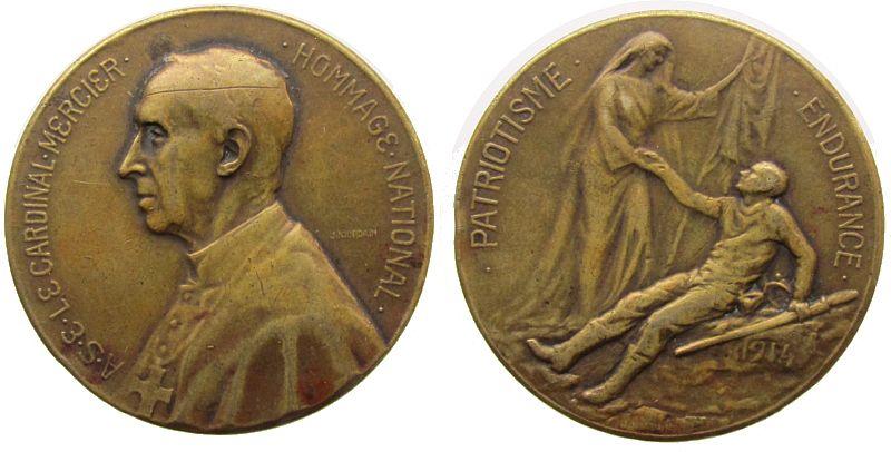 Medaille 1914 Belgien Bronze Mercier (1851-1926) - Kardinal, Brustbild nach links / Krankenschwester mit Fahne und verwundetem, liegenden Soldat, v. J ss