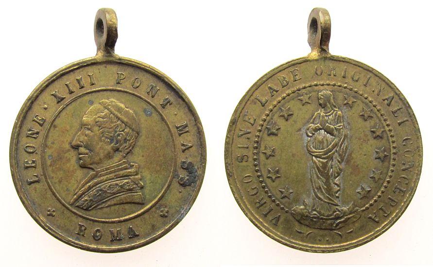 tragbare Medaille o.J. Wallfahrt Bronze Leo XIII (1878-1903) - Heilige Jungfrau Maria, ca. 21,2 MM, fleckig ss