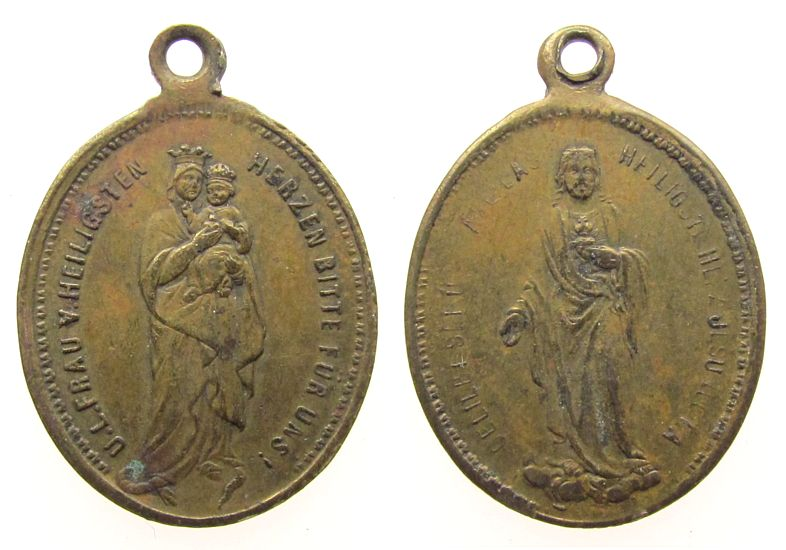tragbare Medaille o.J. Wallfahrt Bronze Heilige Jungfrau Maria mit dem Jesuskind - Jesus, ca. 8,4 x 20 MM ss