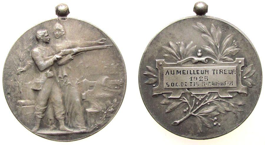 tragbare Medaille 1925 Frankreich -- Riedisheim - Schützenfest, ca. 36,5 MM, mattiert, ca. 19,85 Gramm ss