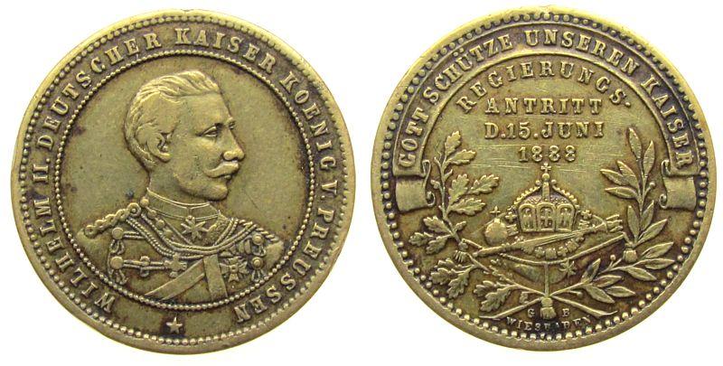 Medaille 1888 vor 1914 Bronze Wilhelm II (1888-1918) Preußen - auf den Regierungsantritt 1888, Signatur: G.B. Wiesbaden, ca. 27,5 MM, abgebrochene Öse ss