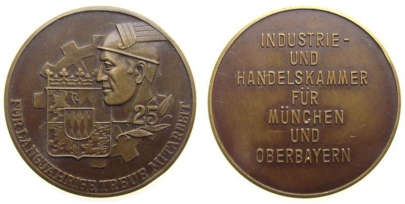 Medaille o.J. München Bronze München - für 25 Jahre treue Mitarbeit, Wappen und Zahnrad / Mehrzeiler, ca. 50,5 MM, kleiner Randstoß vz