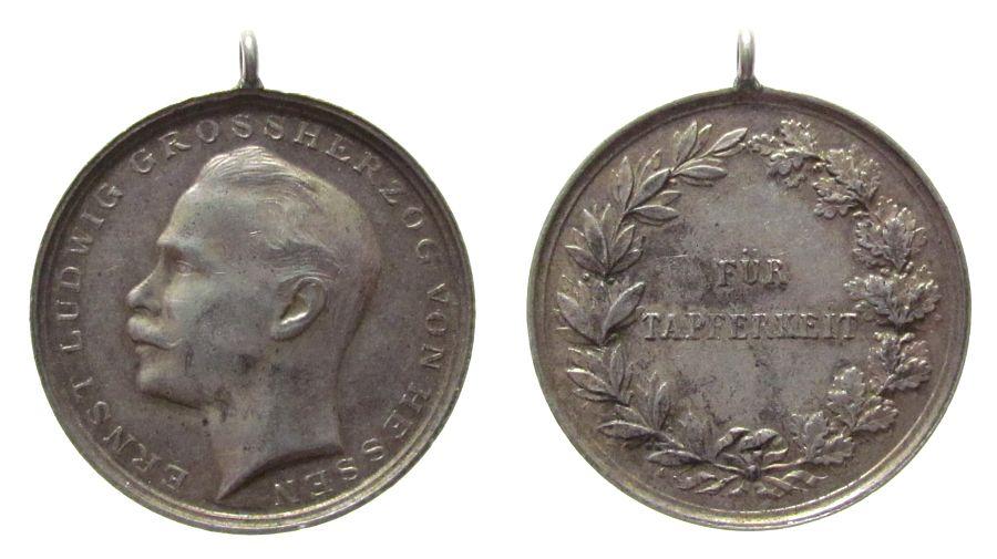 tragbare Medaille o.J. vor 1914 Silber Ernst Ludwig Großherzog von Hessen (1892-1918), für Tapferkeit, ca. 33,2 MM, ca. 14,96 Gramm fast vz