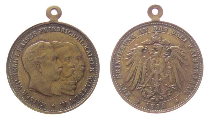 tragbare Medaille 1888 vor 1914 Messing Dreikaiserjahr - zur Erinnerung, die Büsten der drei Kaiser nach rechts / Reichsadler, ca. 30,2 MM ss