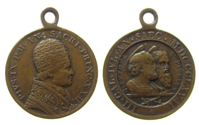 tragbare Medaille 1867 Vatikan Bronze Pius IX (1846-1878), auf die 1800 Jahrfeier des Märtyrertodes von Petrus und Paulus, Büste mit Tiare nach rechts / Büsten ss