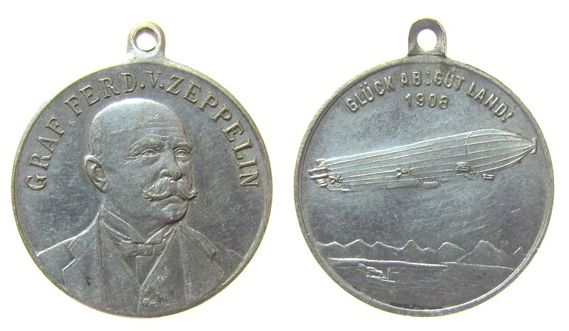 tragbare Medaille 1908 Luftfahrt Bronze versilbert Zeppelin Ferdinand Graf - auf die erste Fahrt des LZ 4, Brustbild nach halbrechst / LZ 4 über dem Bodensee, ca ss-vz