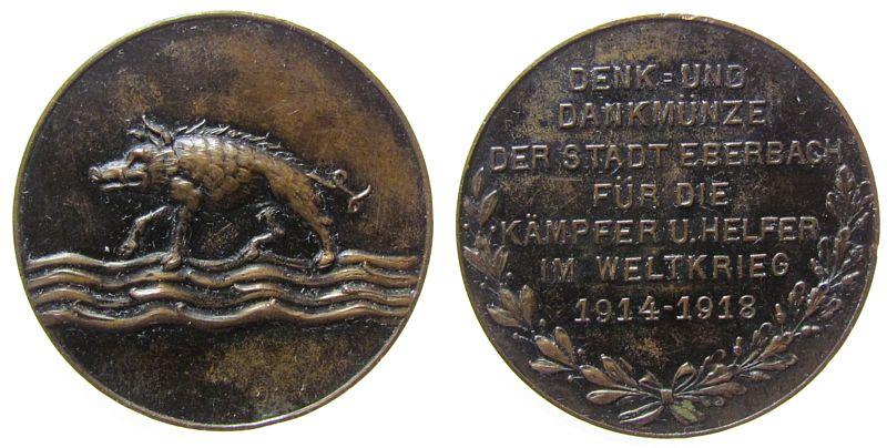 Medaille o.J. erster Weltkrieg Bronze Eberbach, für die Kämpfer und Helfer im Weltkrieg 1914-1918, Wappen / Schrift im Kranz, ca. 37,5 MM vz