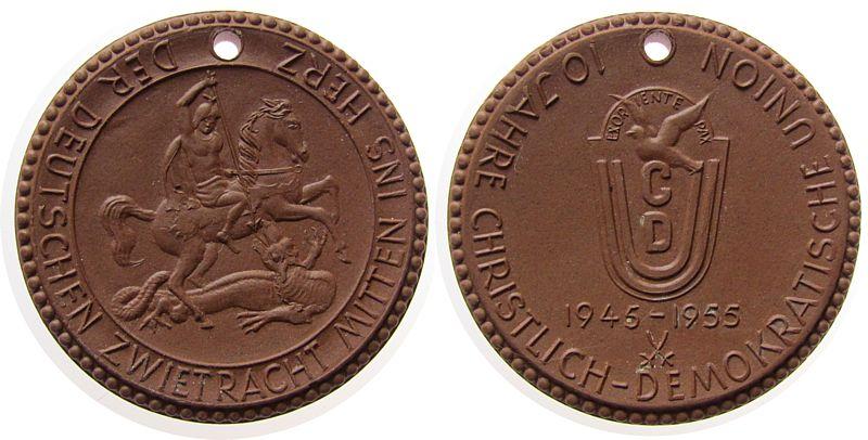 Medaille 1955 Porzellan Böttger Steinzeug CDU - 10. Jahrestag, ca. 40 MM, braun prägefrisch