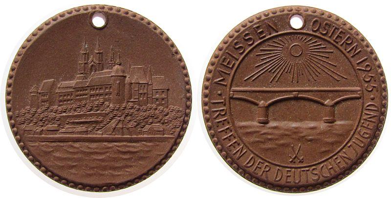Medaille 1955 Porzellan Böttger Steinzeug Meissen - Treffen der deutschen Jugend, Ostern 1955, prägefrisch