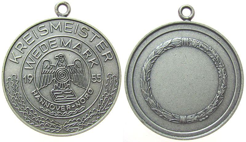 tragbare Medaille 1955 Schützen nach 1945 Bronze versilbert Hannover (Nord) - Kreismeister Wedemark, Adler mit Zielscheibe / leeres Gravurfeld, ca. 40 MM vz