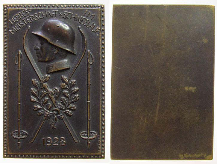 Plakette 1928 Weimarer Republik Bronze Heeresmeisterschaft im Schneelauf, Büste eines behelmten Soldaten - gekreuzte Skier mit Stöcken, einseitig, v. K. Möbius, vz
