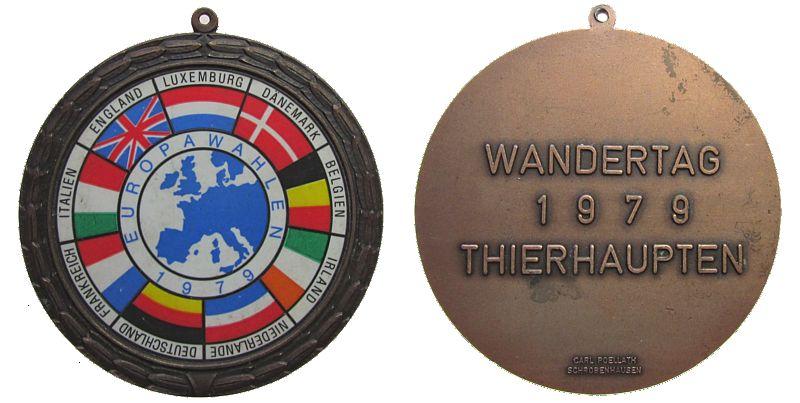 tragbare Medaille 1979 Sport Bronze Thierhaupten (Augsburg) - Wandertag, Europawahlen 1979, v. Poellath, ca. 69,5 MM fast vz