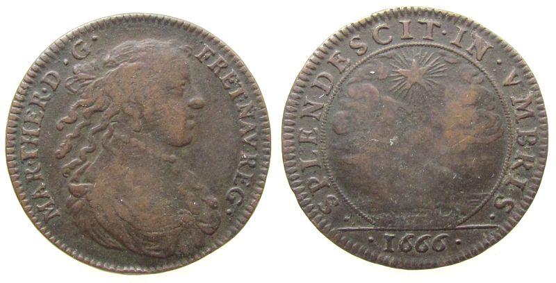 Jeton 1666 Frankreich Bronze Maria Theresia (Ehefrau v. Louis XIV) - auf den Tod Ihrer Schwiegermutter Anna, Brustbild nach rechts / Stern über Landsc schön