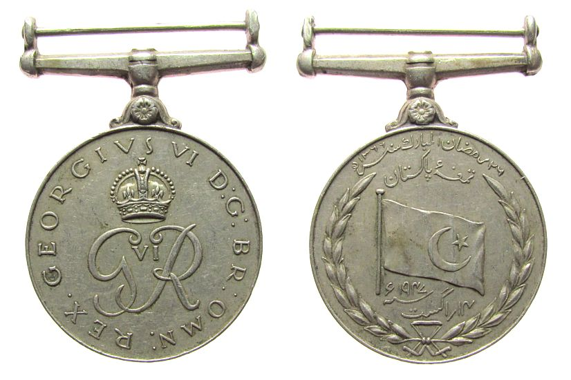 tragbare Medaille 1947 Pakistan KN Georg VI - Pakistan, ca. 37 MM ss