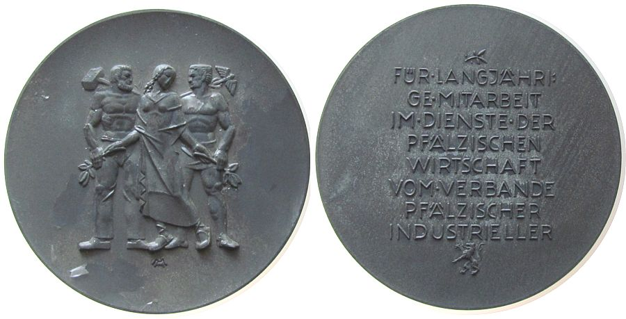 Ehrenmedaille o.J. (um 1930) Gelegenheitsmedaillen Zinn Pfälzische Wirtschaft, für langjährige Mitarbeit im Dienste der Pfälzischen Wirtschaft vom Verbande Pfälzischer Industriell ss