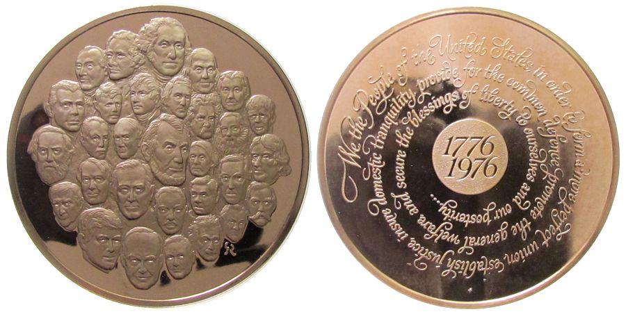 Medaille 1976 USA Bronze Vereinigte Staaten von Amerika - auf die 200 Jahr Gedenkfeier, 30 Portraits von berühmten Amerikanern / Daum - Umschrift, vz-stgl