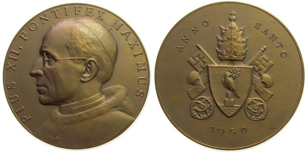 Medaille 1950 Vatikan Bronze Pius XII (1939-1958), auf das heilige Jahr, v. A. Hartig, ca. 70 MM, mattiert vz-stgl