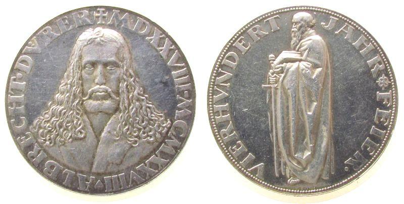 Medaille 1928 Münchner Medailleure Silber Dürer Albrecht (1471-1528), Maler und Grafiker, Brustbild von vorn / Apostel Paulus, v. K. Roth, ca. 36,0 MM, ca. 24.77 G vz